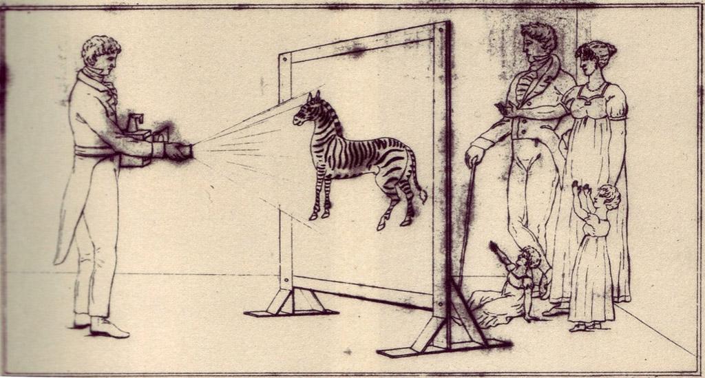 Illustration showing the use of a belt-mounted magic lantern to entertain a family (Erkki Huhtamo Collection)