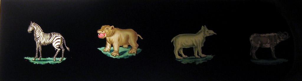 Slides used with the belt-mounted magic lantern (Erkki Huhtamo Collection)